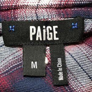 PAIGE Tops - Paige Size Medium Navy Blue Plaid Button Up Shirt